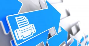 Printer Icon on Blue Arrow on aGrey Background.